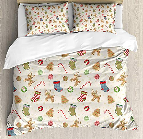 JamirtyRoy1 Christmas Duvet Cover Set King Size, Traditional Sweets of Xmas Party Gingerbread Cookies Lollipop Candies with Socks, Decorative 3 Piece Bedding Set with 2 Pillow Shams, Multicolor