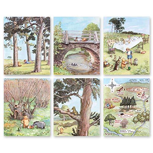 Classic Winnie the Pooh Art (Boys Prints, Baby Girls Nursery Wall Decor, Set of 6) Unframed