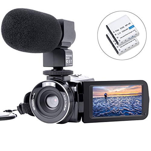 HAOHUNT Camcorder Video Camera Digital Camera Recorder Vlogging Camera HD 1080P 24.0MP 3.0 Inch LCD 180 Degree Rotation Screen Camera with External Microphone and 2 Batteries(303SM)