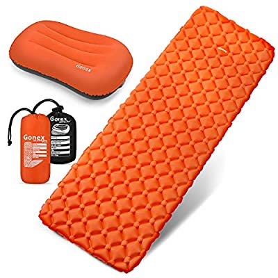 Gonex Air Sleeping Pad, Lightweight 13.7 OZ Camping Air Mattress Pad with Inflatable Travel Pillow, Waterproof, Inflatable & Compact Camping Mat for Backpacking, Hiking & Outdoor Activities, Orange