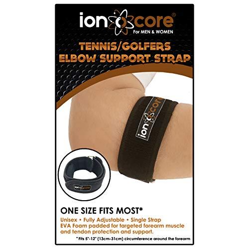 Ionocore® Tennisarm Manschette - Ellenbogenschoner mit Präzisem Kompressionspad - Gelenkstütze mit Verstellbarer Schnalle - Armmanschetten - Ellenbogenstütze für Training & Sport