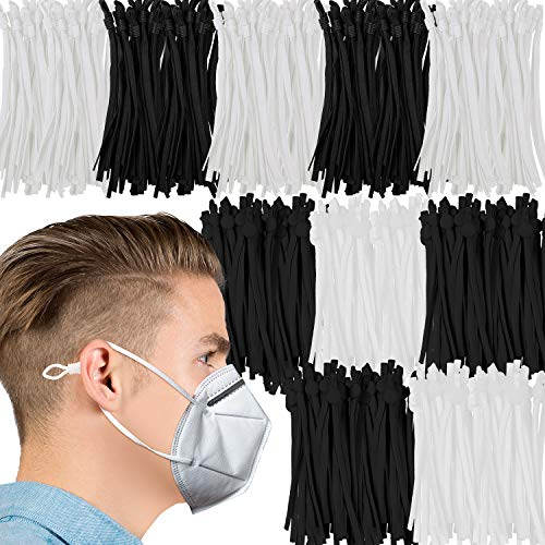 200 Pieces Elastic Bands with Adjustable Buckle Elastic Band Cord Stretchy Ear Band Straps Elastic Cord Lanyard Earmuff Rope for Sewing DIY Crafting (Black, White)