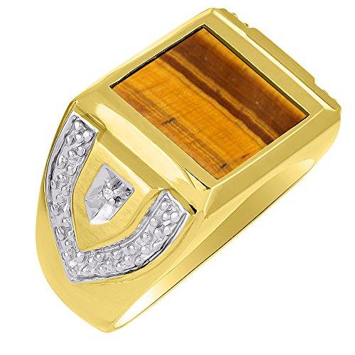 Mens Diamond & Anillo de ojo de tigre plata o chapado en oro amarillo