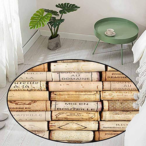 Round Office Chair Floor Mat Foot Pad Different Wine Corks Arranged in a Line Collections French Aged Fine Wine Art Diameter 48 inch Outdoor Carpet