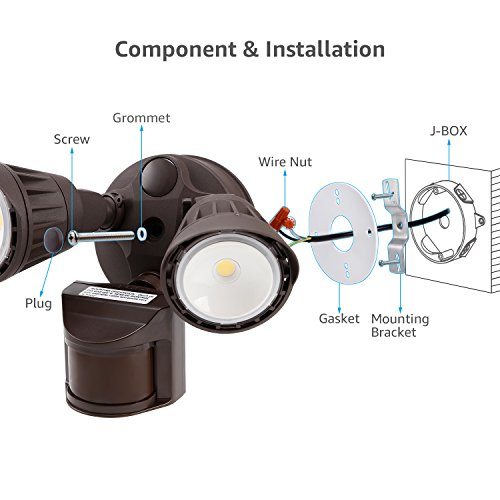 LEONLITE Dual-Head Motion Activated LED Security Light with Photocell, Waterproof Outdoor Area Lighting, DIM Mode Available, 3000K Warm White,25W (200W Halogen Equiv.) for Yard, Garage, Porch, Bronze