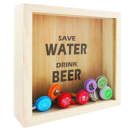 Space Art Deco 8x8 Shadow Box Display Case – Square Top Loading Wood Frame - Showcase Bottle/Beer Cap Collector/Holder,Wall Mounting (Natural)