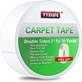 YYXLIFE Rug Tape Double Sided Carpet Tape Heavy Duty,2 Inch x 30 Yards, Carpet Adhesive Rug Gripper Removable Multi-Purpose Tape Cloth for Area Rugs,Outdoor Rugs, Carpets,Tape Carpet Adhesive,White