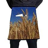 Yushg Delantal de Cocina para niños Trigo Hierba Cebada Cosecha de otoño Naturaleza Delantales Naturales para Cocina con Bolsillo Grande Unisex para Cocina Elaboración Dibujo de Barbacoa