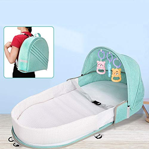 Multi functionele baby nest 3 in 1 draagbare reizen baby Tote handtas Opvouwbare Babybed Luiertas Changing Station Green Baby Zorg (Color : Green, Size : One size)