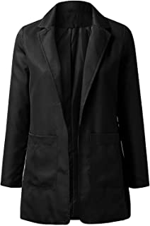 joyvio Dames colbert trenchcoat Lange mouw revers blazer jas Elegante dames blazer Dames effen kleur lange mouwen jas Slim...