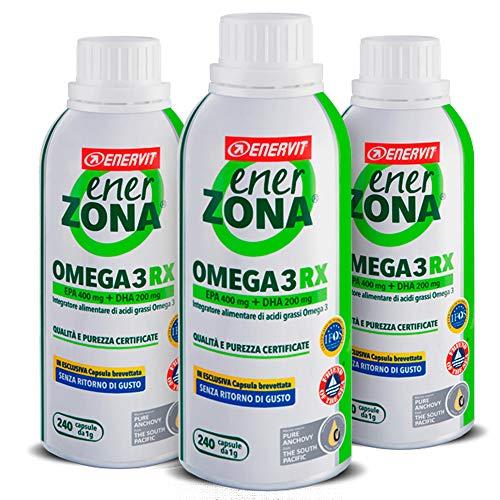 Enervit Enerzona Dieta Zone Integratore Alimentare per il Controllo del Colesterolo e Trigliceridi, Omega 3 RX - 240 Capsule da 1 gr (3)