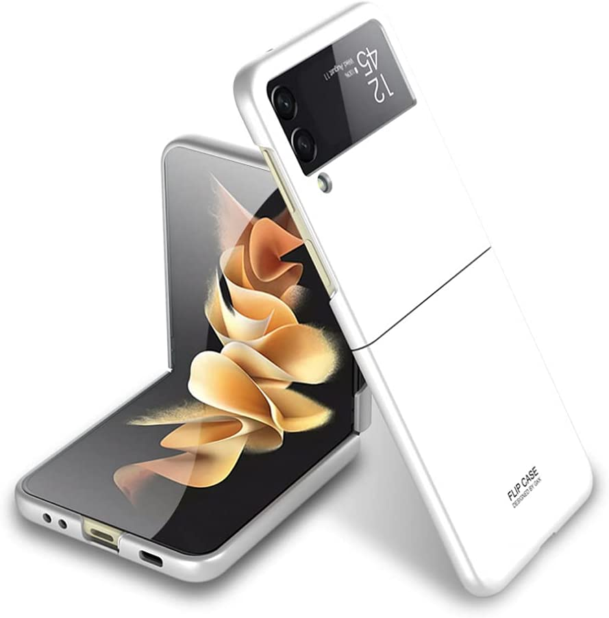 Ranyi for Samsung Galaxy Z Flip 3 5G case, Ultra Thin Matte Flip Design 360 Full Body Protection Shock Absorbing Slim Fit Flexible Hard Bumper Case for Samsung Galaxy Z Flip3 5G 2021 -White