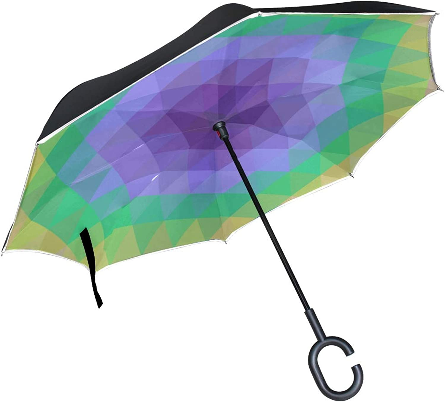 Double Layer Ingreened Abstract Texture Triangle Geometric Pattern Umbrellas Reverse Folding Umbrella Windproof Uv Predection Big Straight Umbrella for Car Rain Outdoor with CShaped Handle