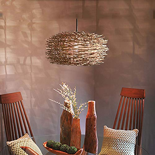 MAONB Modern Simple Rattan Chandelier Rural Farmhouse Creative Personality Aisle Single Head Restaurant Bird's Nest Chandelier (Color : Brown)