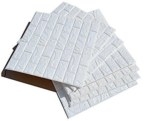 ANCOZ 3D Papel Pintado ladrillo Blanco,Pegatinas de Pared de ladrillo de imitación, DIY Etiqueta engomada de la Pared Adhesivo Decorativo a Prueba de Agua Wallpaper Pared de la Pared 60x60 cm (1 PCS)