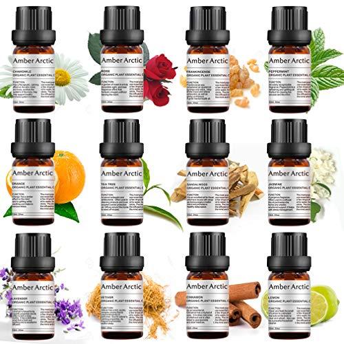 Top 12 Essential Oils Set, 100% Pure Natural Aromatherapy Essential Oil Gift Set(Jasmine, Vetiver, Chamomile, Sandalwood,Tea Tree, Frankincense, Cinna