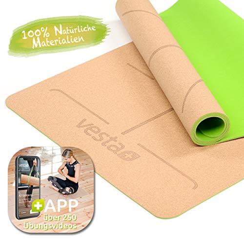 Vesta+ Yogamatte Kork Naturkautschuk Fitness APP + Tragegurt | Kork Yogamatte Naturkautschuk - Nachhaltig & rutschfest - Yoga Matte Kork | Kautschuk Yogamatte beige