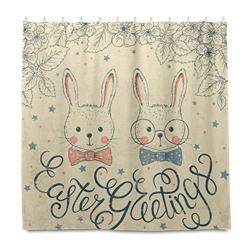 OOWOW Cortina de ducha vintage de conejo de Pascua con ganchos de plástico, resistente al agua, juego de cortina de ducha para baño, bañera y hotel, decoración de 72 x 72 pulgadas