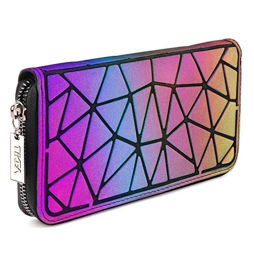 Tikea Damen Geometrische Geldbörse Fashion Holographische Clutch Wallet Kunstleder Leuchtende Handytasche Portable Handtasche für Frauen Leuchtend