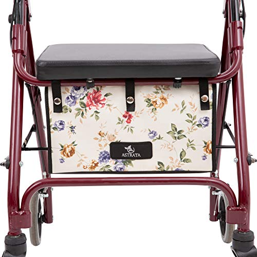 Extra Large Walker Underseat Bag - Rollator Accessories - Under Seat Storage Pouch for Rollator Walker with Seat - Walker Accessories - Replace Walker Basket for Seniors (Floral)