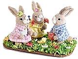 Ideapiu Famiglia di Coniglietti in Fibra Naturale su zolla di Prato