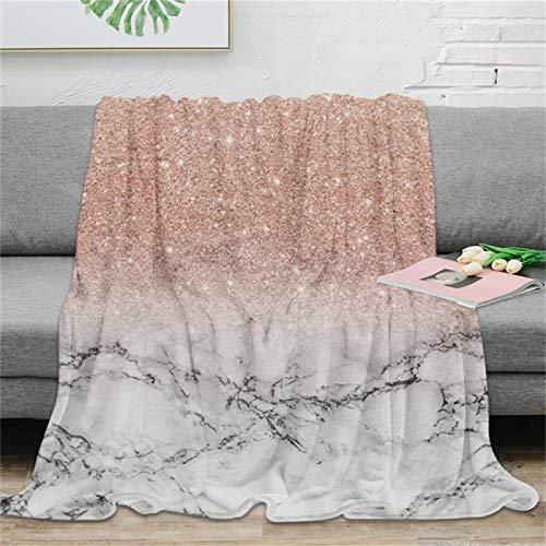 LILANG Manta Cálido Moderno Faux Rose Pink Glitter Mármol Blanco Manta de Tiro Manta de Microfibra cálida Manta de Franela Decoración de Dormitorio 100x150cm