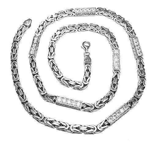 Cadena bizantina de plata de ley 925 maciza con circonitas cúbicas brillantes de 70 cm para hombre, cadena bizantina elegante y moderna, con estuche para joyas, paño de limpieza y bolsa para joyas