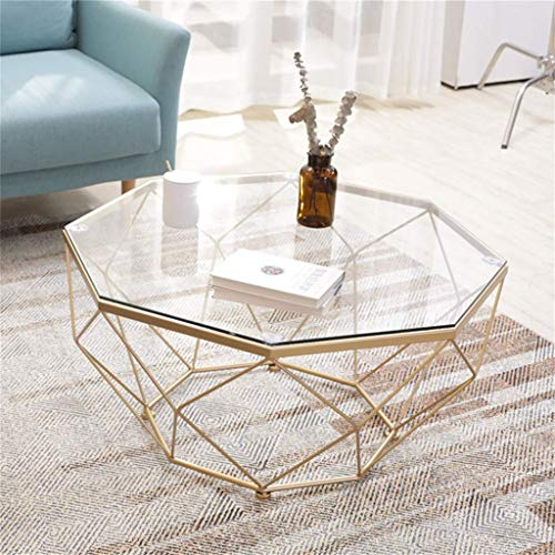 LYMHGHJ Mesa de Centro Redonda, Elegante Tapa de Vidrio Templado |Base de Metal Resistente para Muebles de hogar de diseño Moderno octágono de Sala de Estar [Oro]