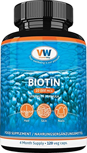 Pure Biotin 10 000 Mcg, 120 Veg Capsules, 4 Month Supply, Hair Growth...