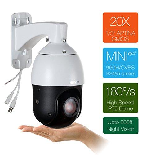 SUNBA 22-facher optischer Zoom, 960H Analog Hochgeschwindigkeits PTZ Kamera, CCTV 100m Nachtsicht Outdoor Sicherheits Dome Kamera w/RS485 Kontrolle (405-22X)