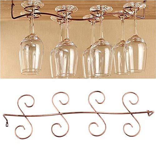 PPuujia Soporte para copas de vino 6/8 para colgar debajo del gabinete, tornillos de cocina, cubos y soportes (color : 8 vasos)