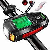 Velocímetro LCD HD incorporado con luz para bicicleta,computadora para bicicleta recargable por USB con campana ruidosa de 130dB,7modos de registro de fecha,5modos de iluminación y luz antiniebla