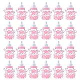 JUHONNZ Babyparty Flaschen,24 PCS Mini Dekoschnuller Geschenk Babyparty Dekorationen Candy Flaschen Babyflaschen Gastgeschenke Baby Geschenk für Jungen Mädchen Party Gefälligkeiten Rosa