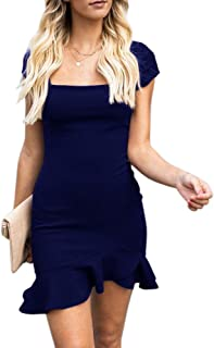 Caitefaso Womens Bodycon Mini Party Dress Sexy Square Neck Ruffle Hem Short Sleeve Elegant Evening Dress