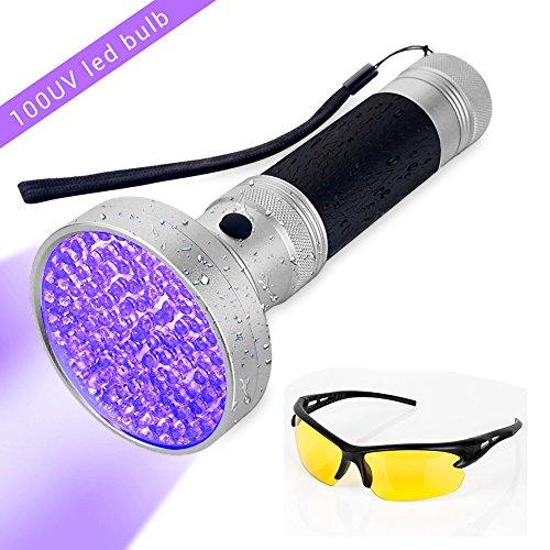 UV Lampe de poche surenhap 100 LED UV lumière noire lampe de poche avec lunettes de protection UV, pour spot scorpions, punaises de lit, du corps urine, voiture fréon fuites