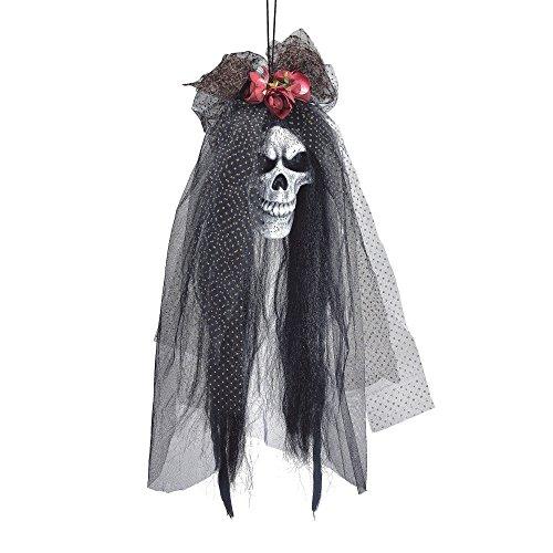 Bristol Novelty Hi161 Tête de mort mariée Tête Prop, Blanc/noir/rouge, taille unique
