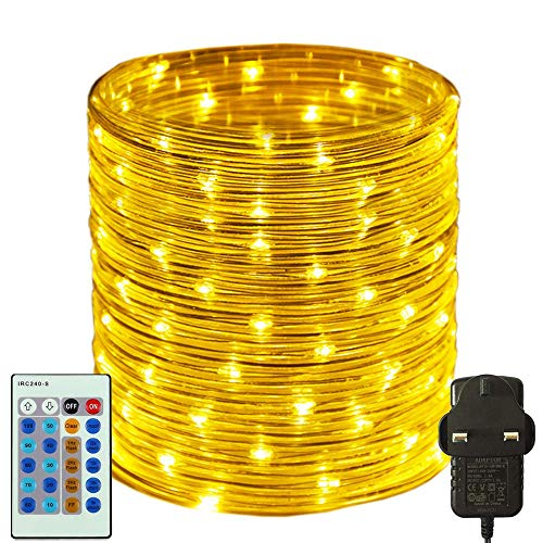 RcStarry 30M/100FT 300 LED Dia 3MM Rope/Wire Lights Warm White, Dimmable Indoor/Outdoor IP65 Waterproof Fairy Lights Plug in with Remote for Garden, Patio, Deck, Landscape Lighting, Bedroom and More