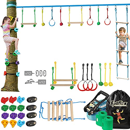 Sportshome Ninja Warrior Obstacle Course for Kids-Ninja Slackline 50FT mit den meisten für Kinder, 12 Ninja Tree Climbing Holds, Kletterleiter, Outdoor Ninja Warrior Hindernisparcours Training