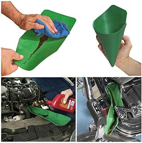 Embudo multipropósito,herramienta flexible de drenaje de aceite para automoción, embudo de aceite universal, placa de guía de drenaje para descargar aceite de coches/motocicletas(pequeña: 37 x 17 cm)