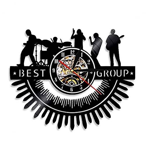 XYVXJ Mejor Grupo de música de Banda de Vinilo Reloj de Pared con Registro de Hombre Cueva Bar Signo Reloj de Pared Regalo de los fanáticos de la música Rock