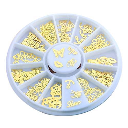 Gaoominy 120 Pièces/Bouteille en Métal D'Or Tranches à Ongles Paillettes Décoration Fleur Engrenage Papillon Art D'Ongles Flocons Manucure Autocollant Minuscule Stickers