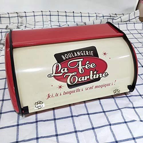 NIUPSKY Brotkasten - Brotbox zur Lagerung von Gebäck & Kuchen Hochwertige Brotdose für die Küche Metall Brotbehälter + Schneidebrett, Brotkasten schwarz Retro (RED)