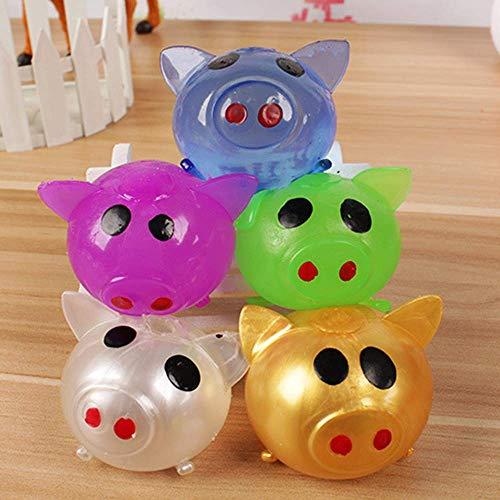 Vercico Jello Pig Spielzeug Kawaii Schwein Jelly Pig Anti-Stress Relief Smash-It Weicher Gummi Wasserball Anti-Stress Ball Splat für Kinder oder Erwachsene (5 Stück zufällige Farbe)