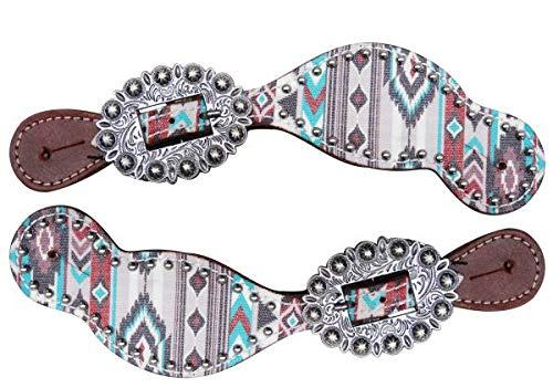 Showman Ladies Size Leather Spur Straps w/Multi-Colored Navajo Diamond Print! New Horse TACK!