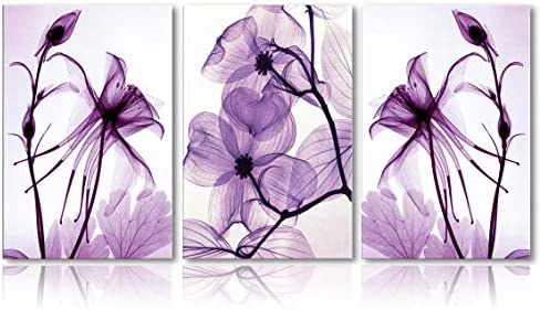 Canvas Wall Art Home Decor Wall Art Painting Purple Flowers Art Wood Inside Framed 3 Panel Wall product image