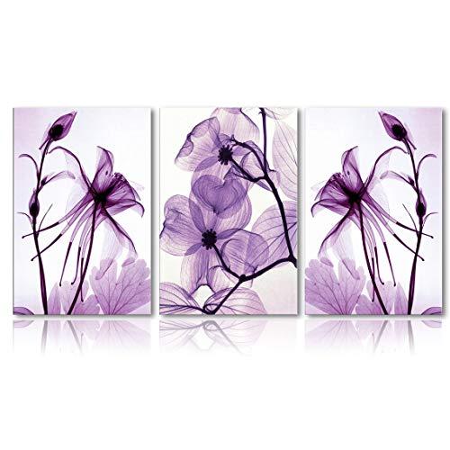 Meigan Art Modern Canvas Wall Art Home Decor Wall Art Painting Purple Flowers Art Wood Inside Framed Ready to Hang (12InchX16InchX3)
