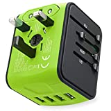 International Power Adapter Travel Plug Maxracy Travel Adapter High Speed 4 USB Wall Charger, European Adapter, Worldwide AC Outlet Plugs Adapters for Europe, UK, US, AU, Asia- Green