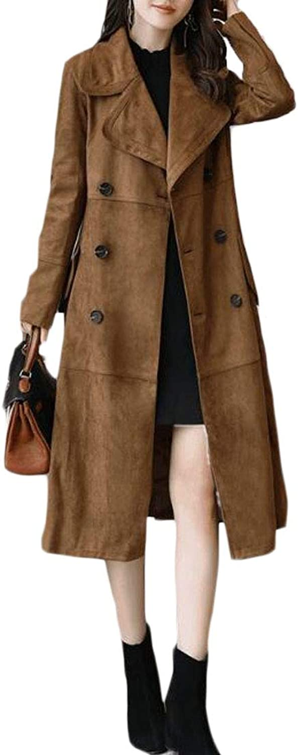 Pipigo Womens Fall & Winter Double Breasted Faux Suede Long Trench Coat Jacket Overcoat