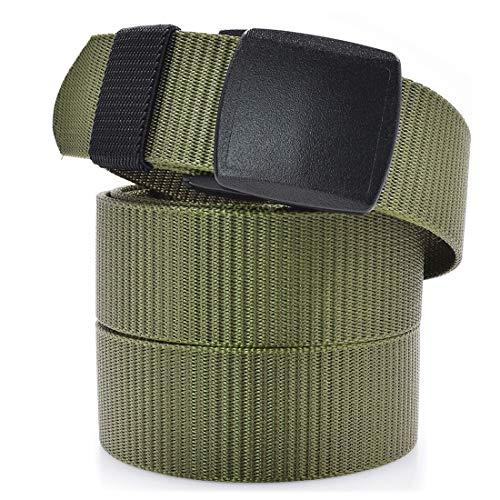 Cinturón Táctico Militar Transpirable de Alta Resistencia Cinturón Nylon Hombre de Alta Resistencia Ajustable Hombre Cinturones Lona Tela 130cm Negro Verde