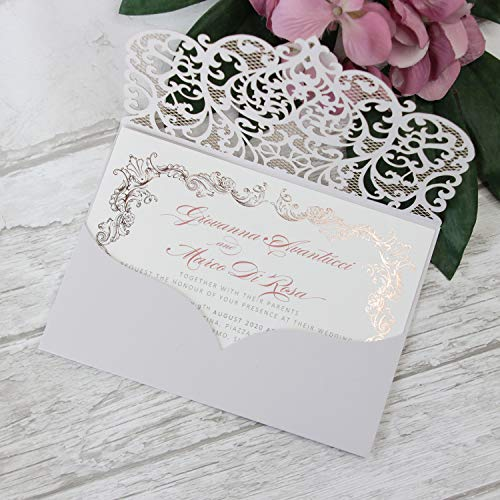 Hellgrau Hochzeitskarte Einladungskarten Hochzeit, Geburtstag Kinder, Konfirmation, Taufe, Lasercut Einladungskarten DIY SET Rose Gold Foil Muster - Vorgedrucktes Sample!
